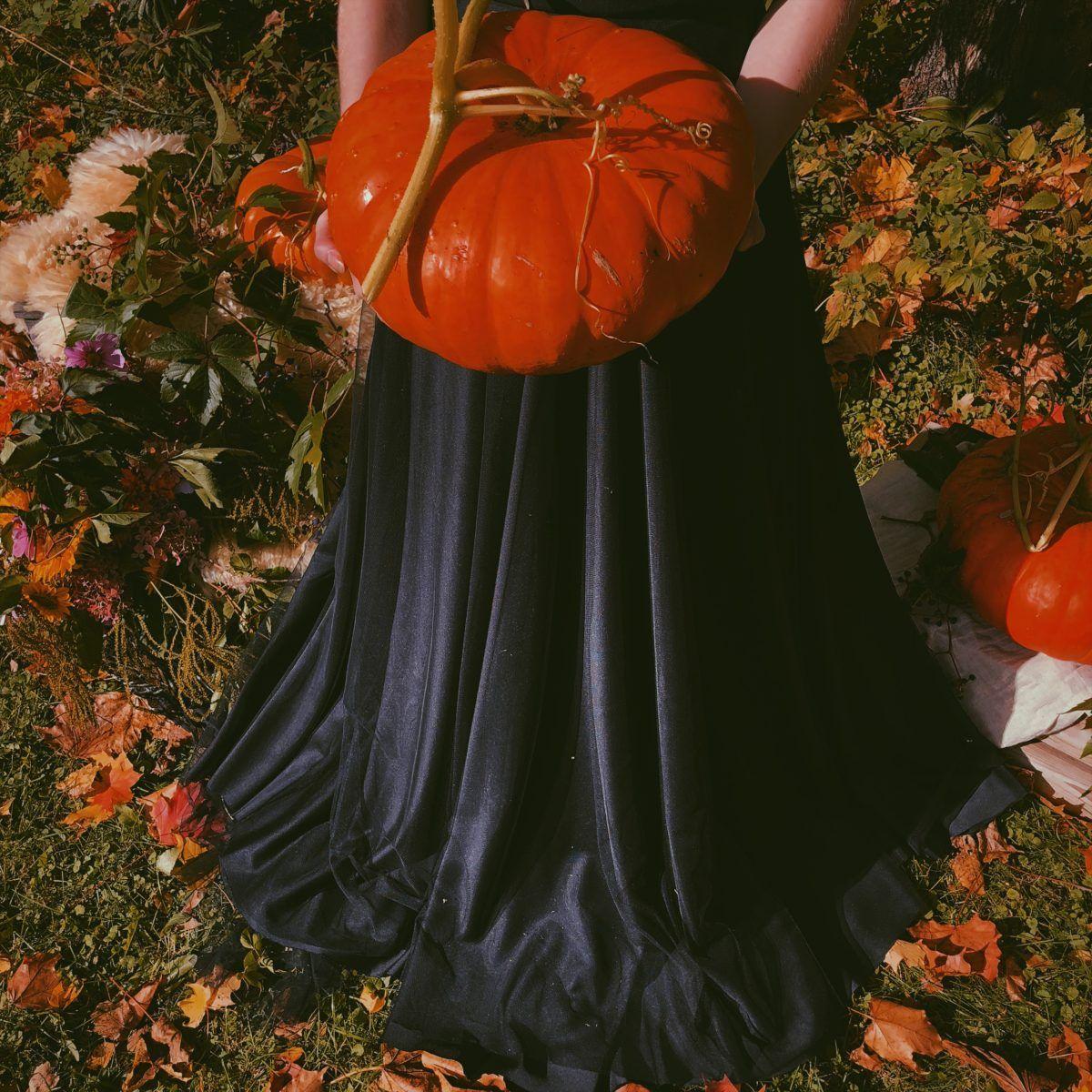 Natural Halloween Wedding Shoot pumpkins and flowers