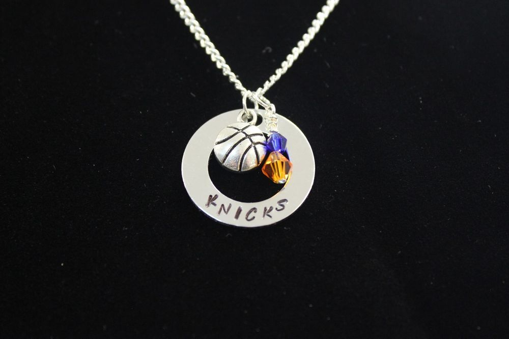 New York Knicks Necklace w/Swarovski Crystal and Silver Basketball Charm…