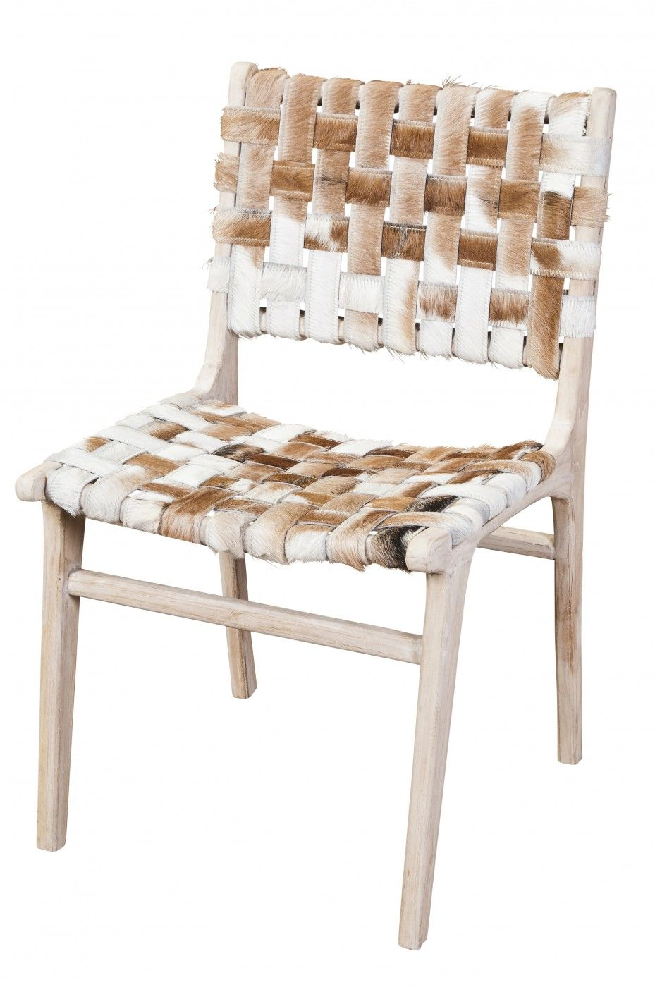 Woven Cowhide Dining Chair.