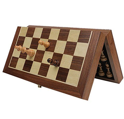 Folding Wooden Chess SetHOWADE 11  11 Inch Small Size Handmade Foldable International Chess Set with Magnetic and Chessmen Storage Slots -- More info could be found at the image url.