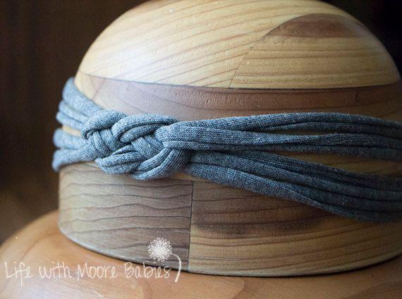 Items similar to Celtic Knot Headband, Gray Sailor Knot Headband, Knotted Headband, Jersey Kn... #sailorknot