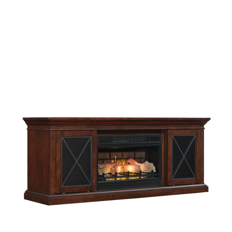 Chimney Free 64 25 In W Cherry Infrared Quartz Electric Fireplace Lowes Com Electric Fireplace Fireplace Media Electric Fireplace