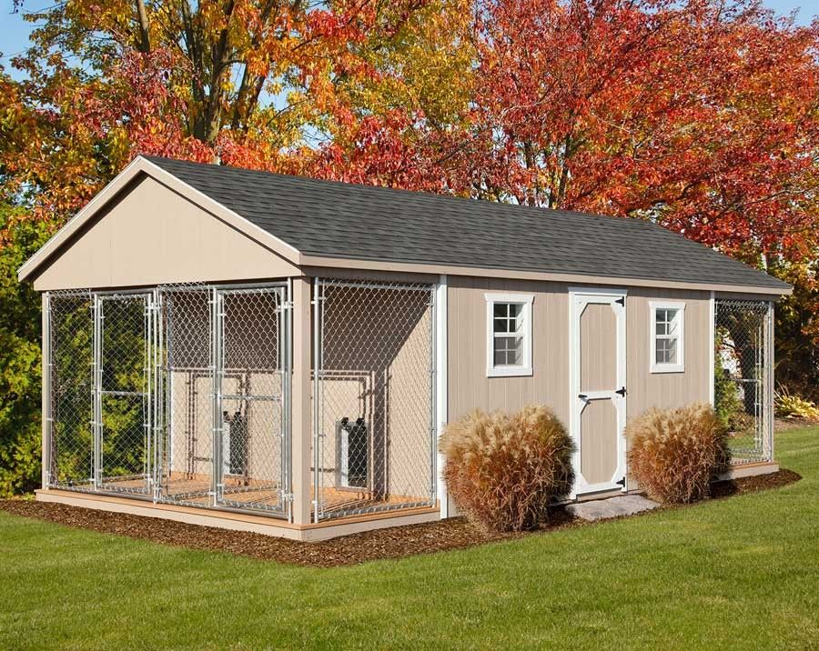 12 x 24 amish built large quad dog kennel outdoor dog for Boarding kennel designs