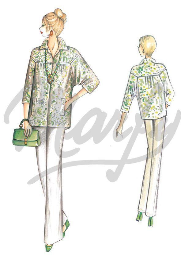 Model 3355 PDF | Sewing Pattern Shirts / Tunic | Marfy | Pinterest ...