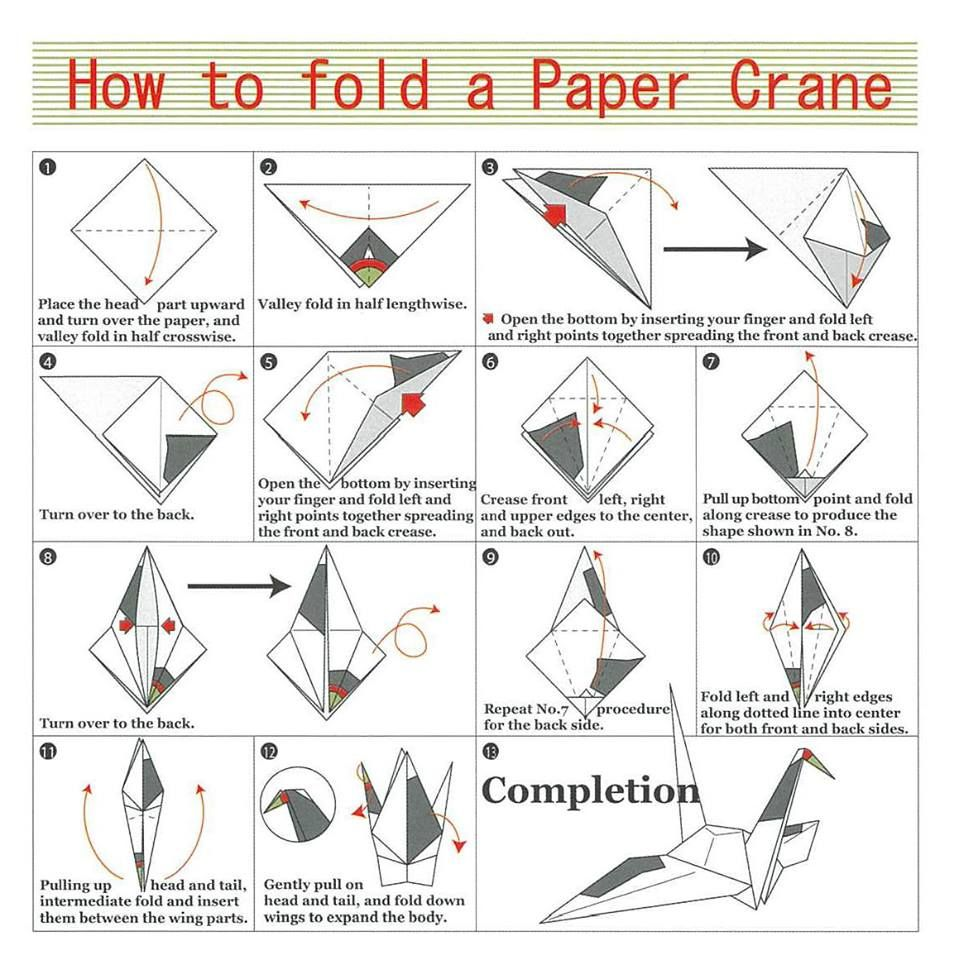 ORIGAMI * How to fold a paper crane   japan!   Pinterest   Paper cranes, Origami and Kids origami