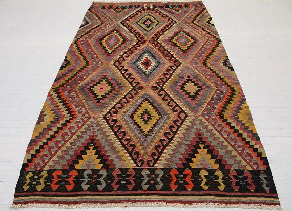 """VINTAGE Turkish Kilim Rug Carpet, Handwoven Kilim Rug, Eye Patterned Kilim Rug ,Decorative Kilim - 70"""" x 129"""" (178 x 327 CM)"""