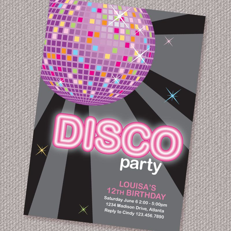17 Best images about Jennas 7th birthday – Disco Party Invitations Free
