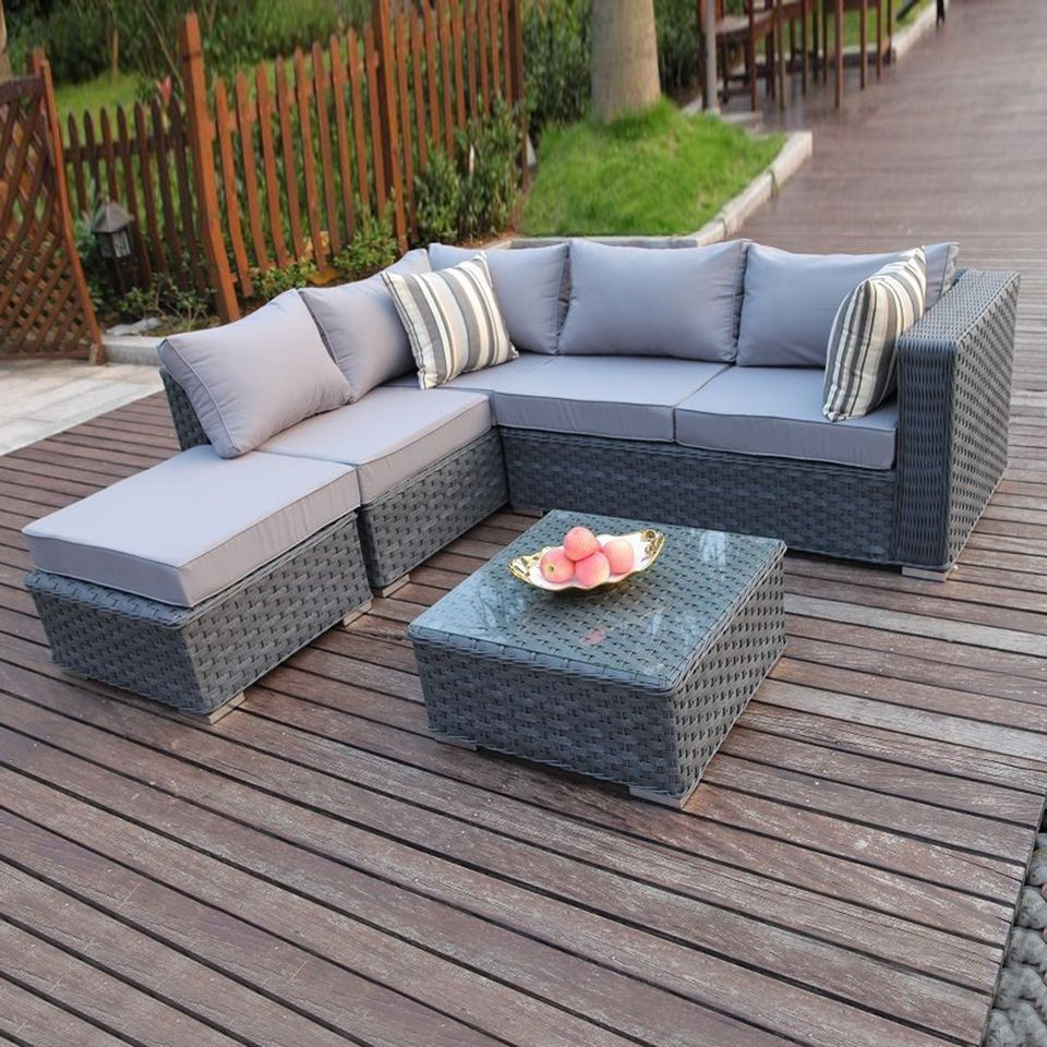 Hot Sale Synthetic Rattan Outdoor Furniture Sofas Used Front Yard Wicker  Corner Sofa Garden Furniture Sets