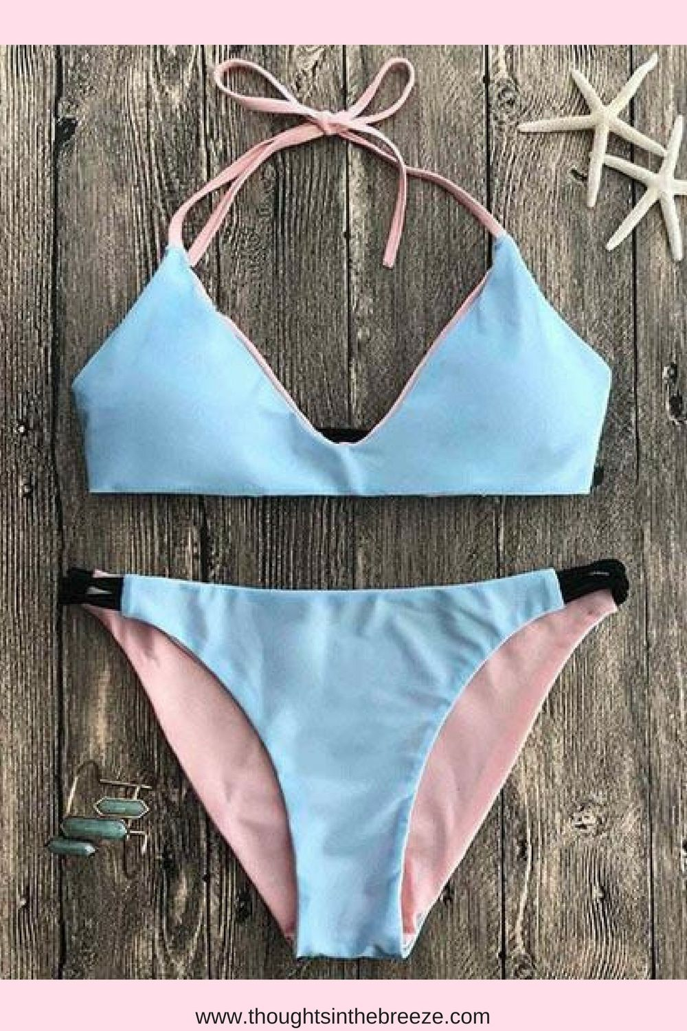 ec63f043c5b58 Chicnico Cute Plain Blue Bikini Set. Fashionable swimsuits for summer and  spring break. Trendy selections of stylish swimwear online. There are sexy
