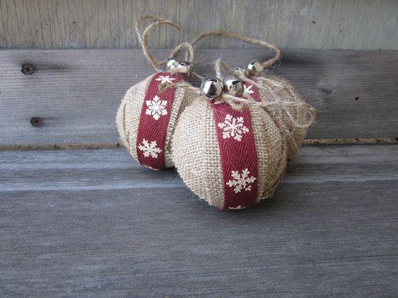 Rustic christmas burlap ornaments jingle bells let it snow set diy christmas rustic christmas burlap ornaments snowflake solutioingenieria Gallery