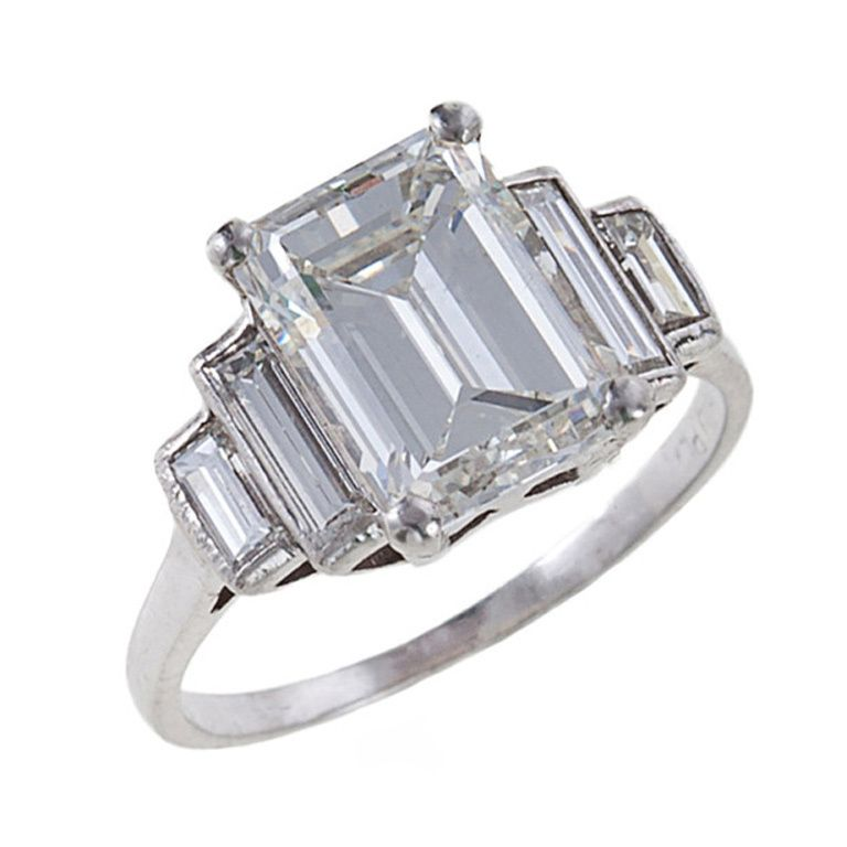 Fine 3 06 Carat Emerald Cut Diamond Platinum Ring 1stdibs