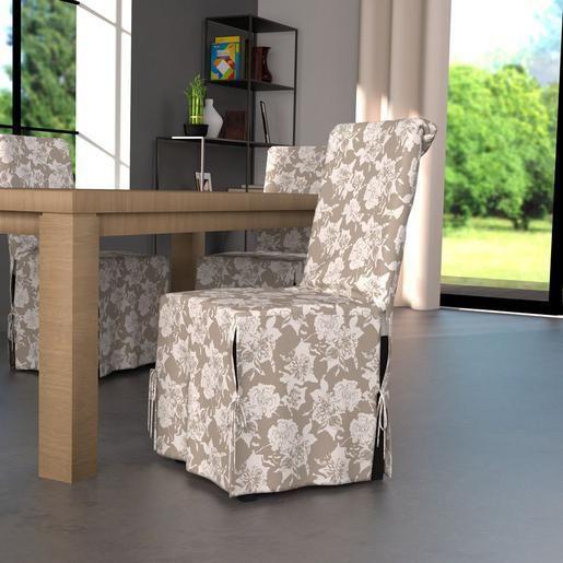 housse de chaise en coton beige et blanc decoration int rieure pinterest housses de. Black Bedroom Furniture Sets. Home Design Ideas