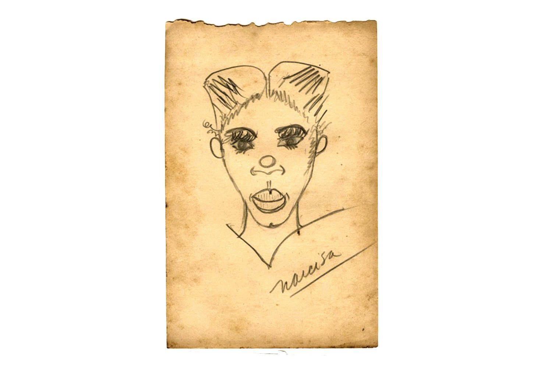 Naive Art Portrait, Kids Caricature Drawing, Vintage 1950s Sketch ...