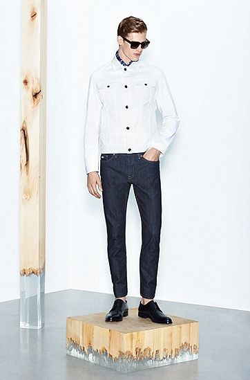 Slim-fit jeans jacket in stretch cotton: 'Windham'