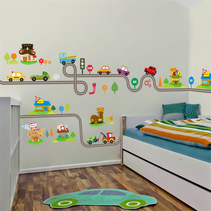 Adesivo Parede Infantil Barato ~ Barato Carros Pista Rodovia dos desenhos animados Adesivos de Parede Para Quartos de Crianças