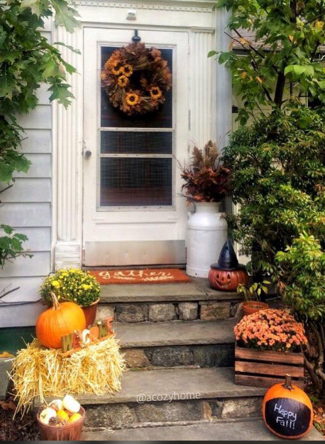 Fall Front Door Decor Entry Way Mums Wreath Welcome Mat Pumpkins Apartment Decor Acozyhome Fall Home Decor Autumn Home Decor
