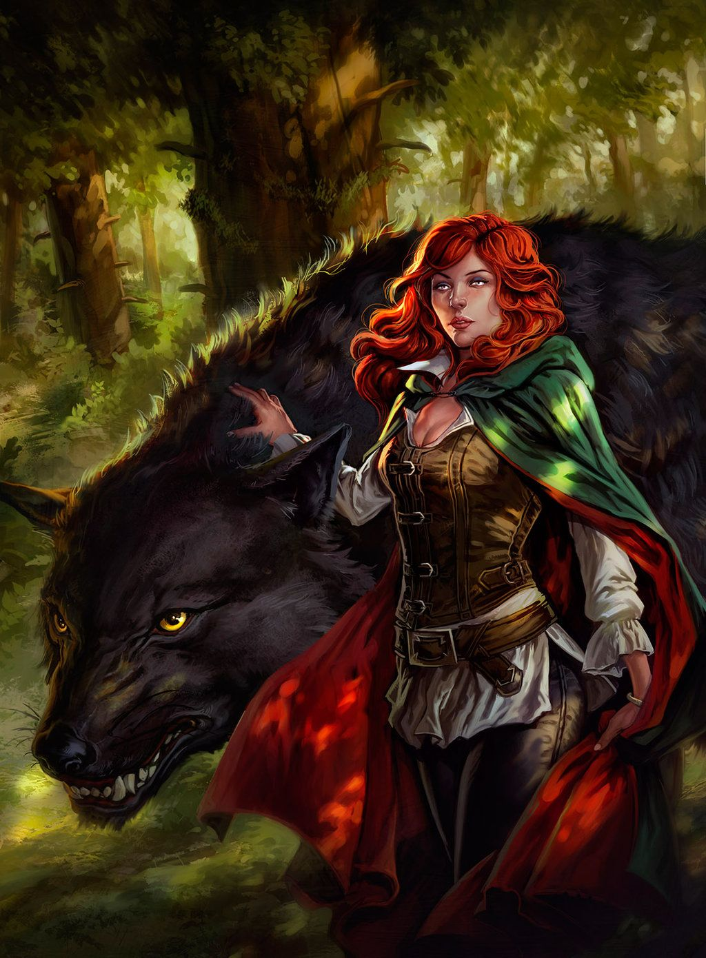 The Great Hunt - 2 by dleoblack redhead female druid ranger dire wolf worg companion pet familiar monster red hair armor clothes clothing fashion player character npc | Create your own roleplaying game material w/ RPG Bard: www.rpgbard.com | Writing inspiration for Dungeons and Dragons DND D&D Pathfinder PFRPG Warhammer 40k Star Wars Shadowrun Call of Cthulhu Lord of the Rings LoTR + d20 fantasy science fiction scifi horror design | Not Trusty Sword art: click artwork for source
