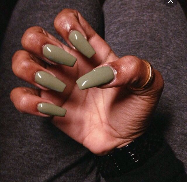 Khaki forest green nail polish on dark skin