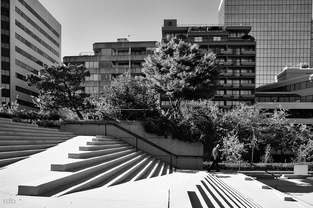 Descending into Robson Square Stairs, Landscape