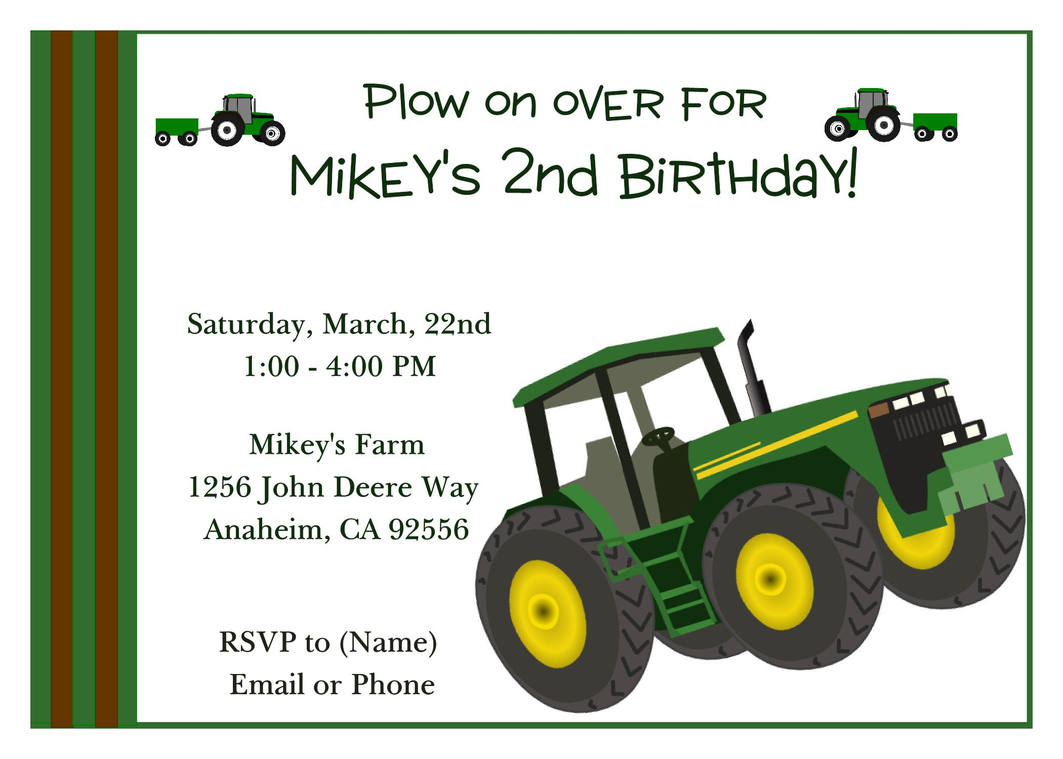 Green Tractor Birthday Invitation Click to order today