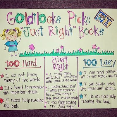 Goldilocks picks just right books  am in need of an anchor chart like this next to our book boxes so that students choose suitable also rh pinterest