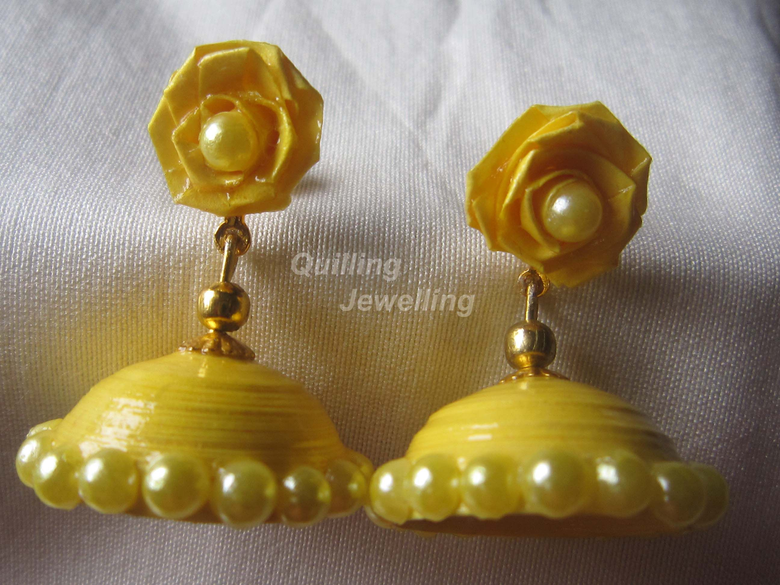 Paper Quilled Jhumkas With Rose Stud