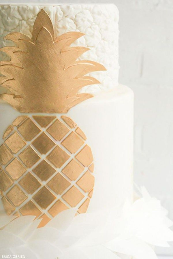 Beautiful Gold Pineapple Decorated Cake  - See More Lovely Pineapple Party Ideas At B. Lovely Events!