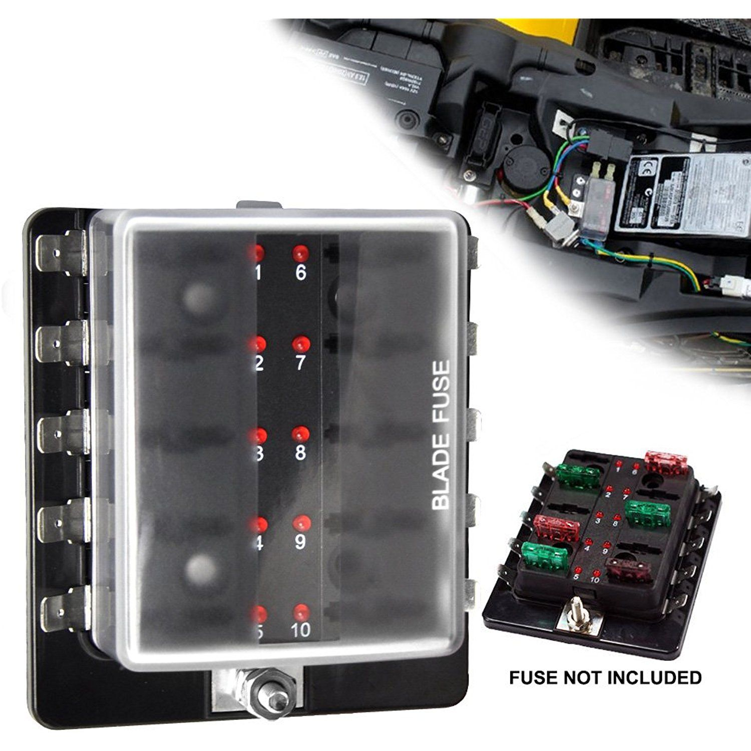 liteway 10 way blade fuse holder box 12 32v led illuminated automotive fuse block for car boat marine trike with led warning light kit 2 years warranty  [ 1500 x 1500 Pixel ]