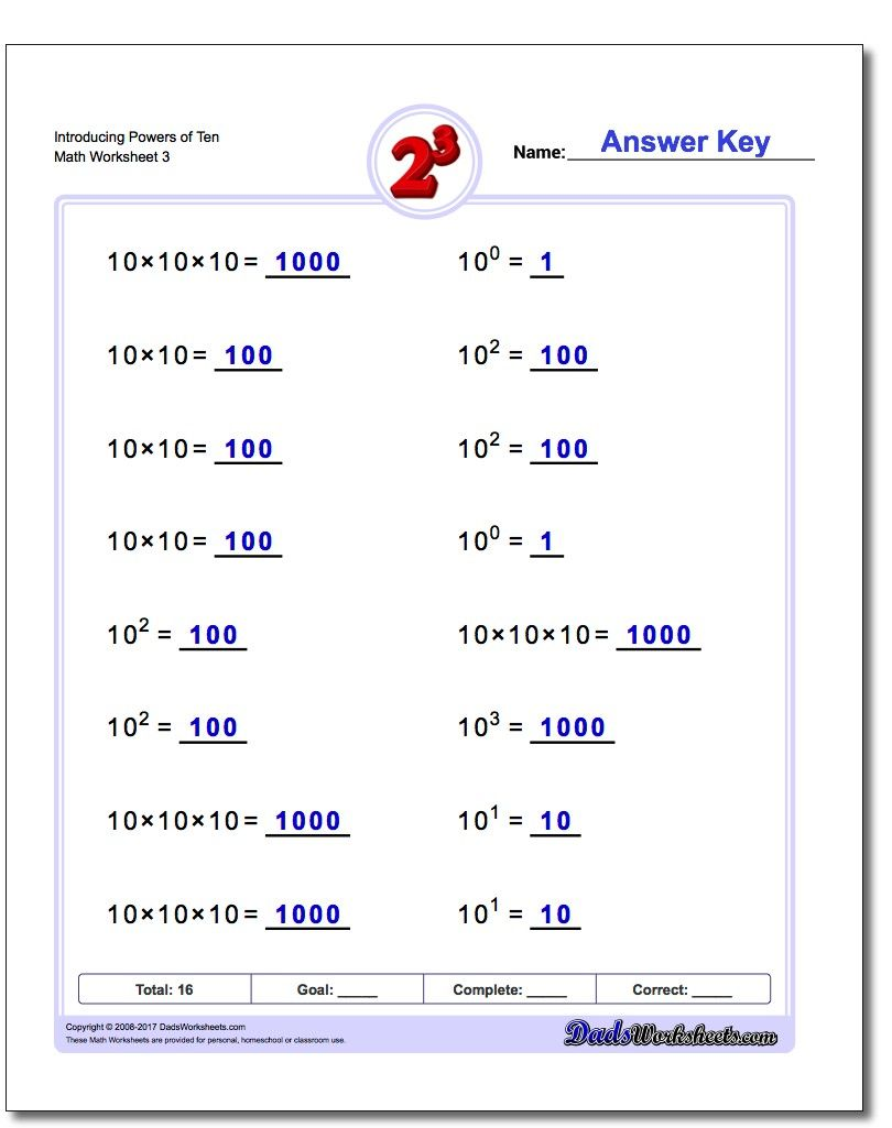 Worksheets Math Worksheets Exponents introducing powers of ten worksheet exponents worksheet