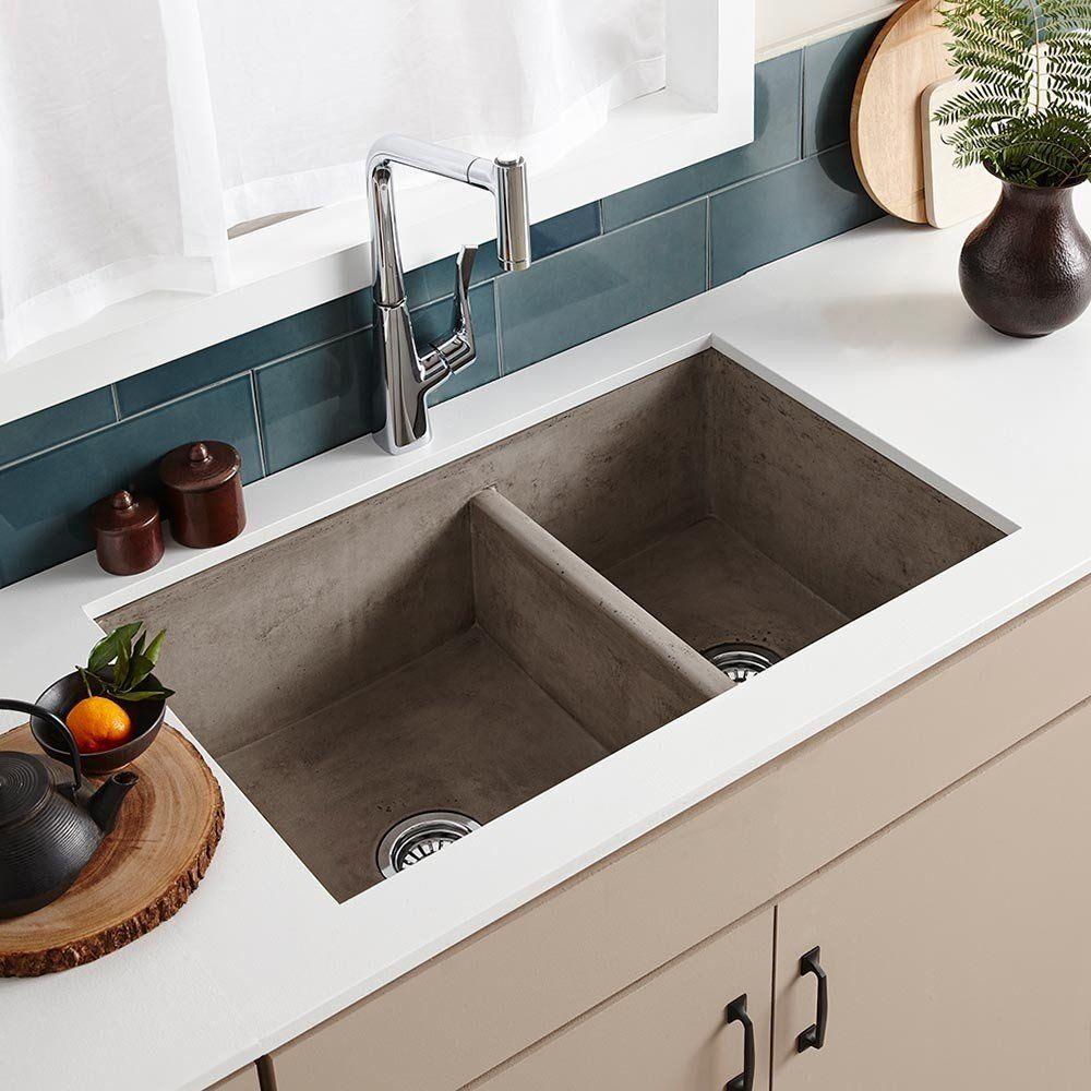 Ash drop in double bowl kitchen sink farmhouse sink