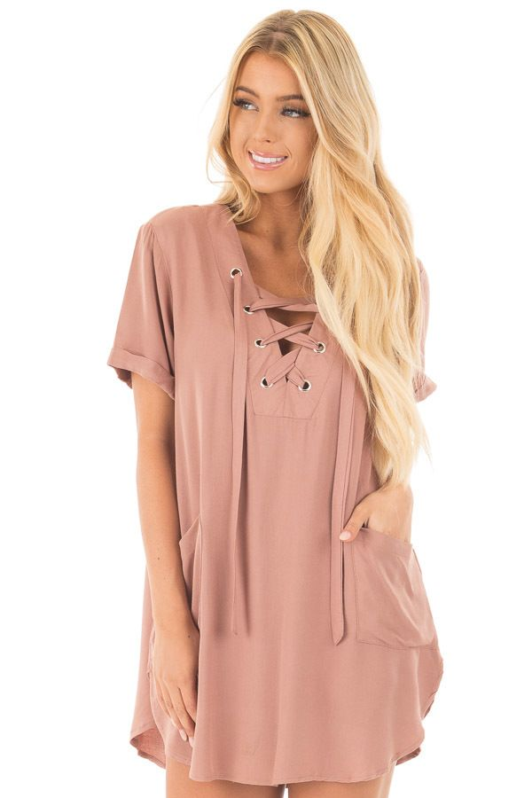 c7960b97a40 Lime Lush Boutique - Dusty Rose Lace Up V Neck Tunic Dress with Front  Pockets