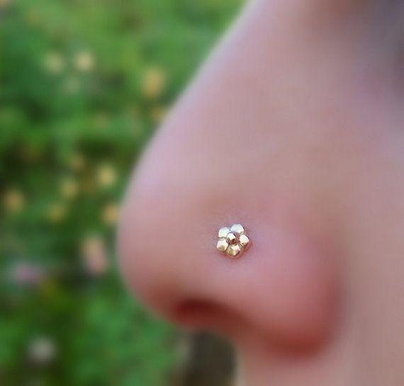 Flower Nose Ring Tragus Cartilage Earring 14k Solid Rose Gold On