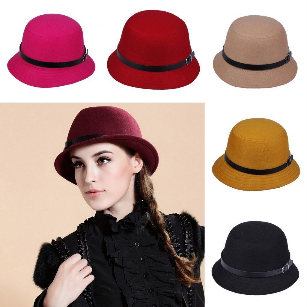 a1c07b181ca Vogue Retro Women Girl Wool Fedora Felt Trilby Panama Jazz Caps Homburg Hat  Warm