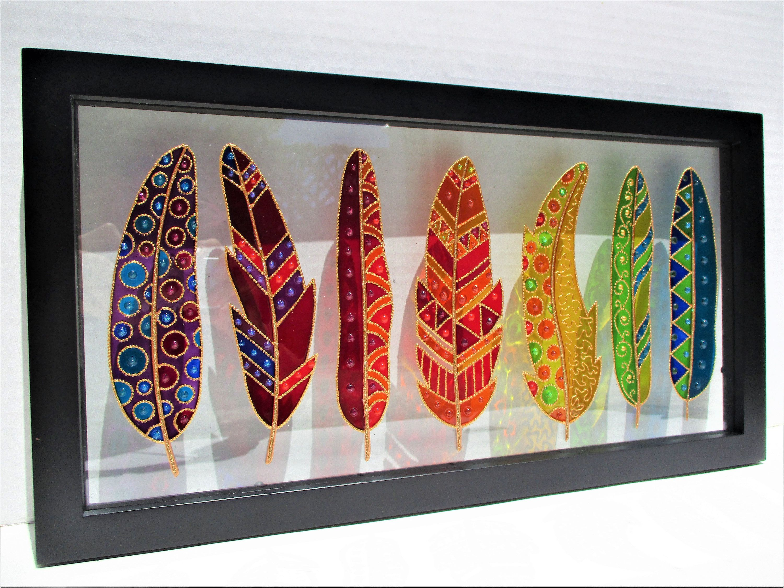Feather Art Glass Painting Bohemian Decor Stained Glass Glass Glass Painting Designs Glass Painting Glass Painting Patterns
