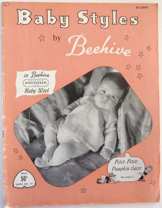 de6b1a51b Vintage Patons Beehive Baby Styles Knitting Pattern Book from the ...