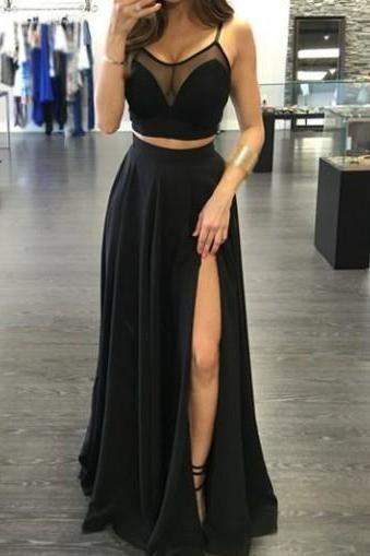 Charming Prom Dress,Two Piece Prom Dress,Black Prom Dress,Sexy See ...