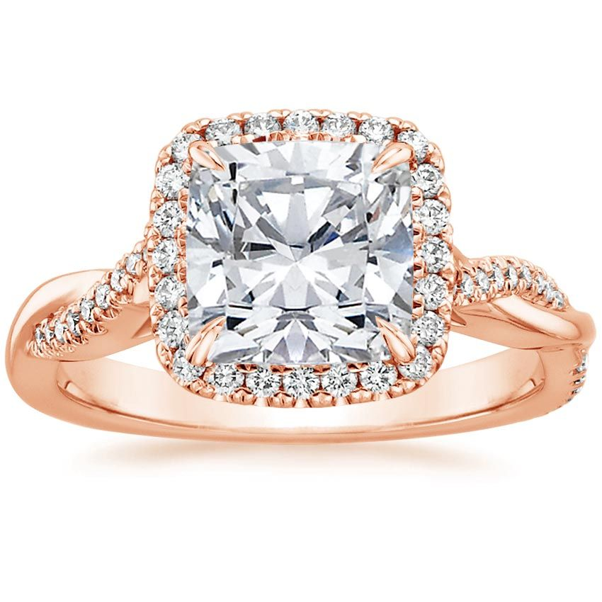 14K Rose Gold Petite Twisted Vine Halo Diamond Ring (1/4