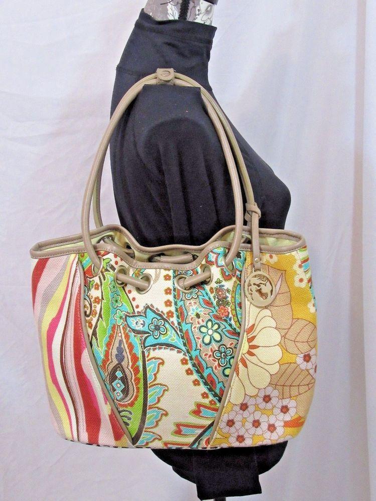 Spartina 449 Linen Leather Handbag Daufuskie Island Rare Patchwork Design Large Spartina449 Shoulderbag