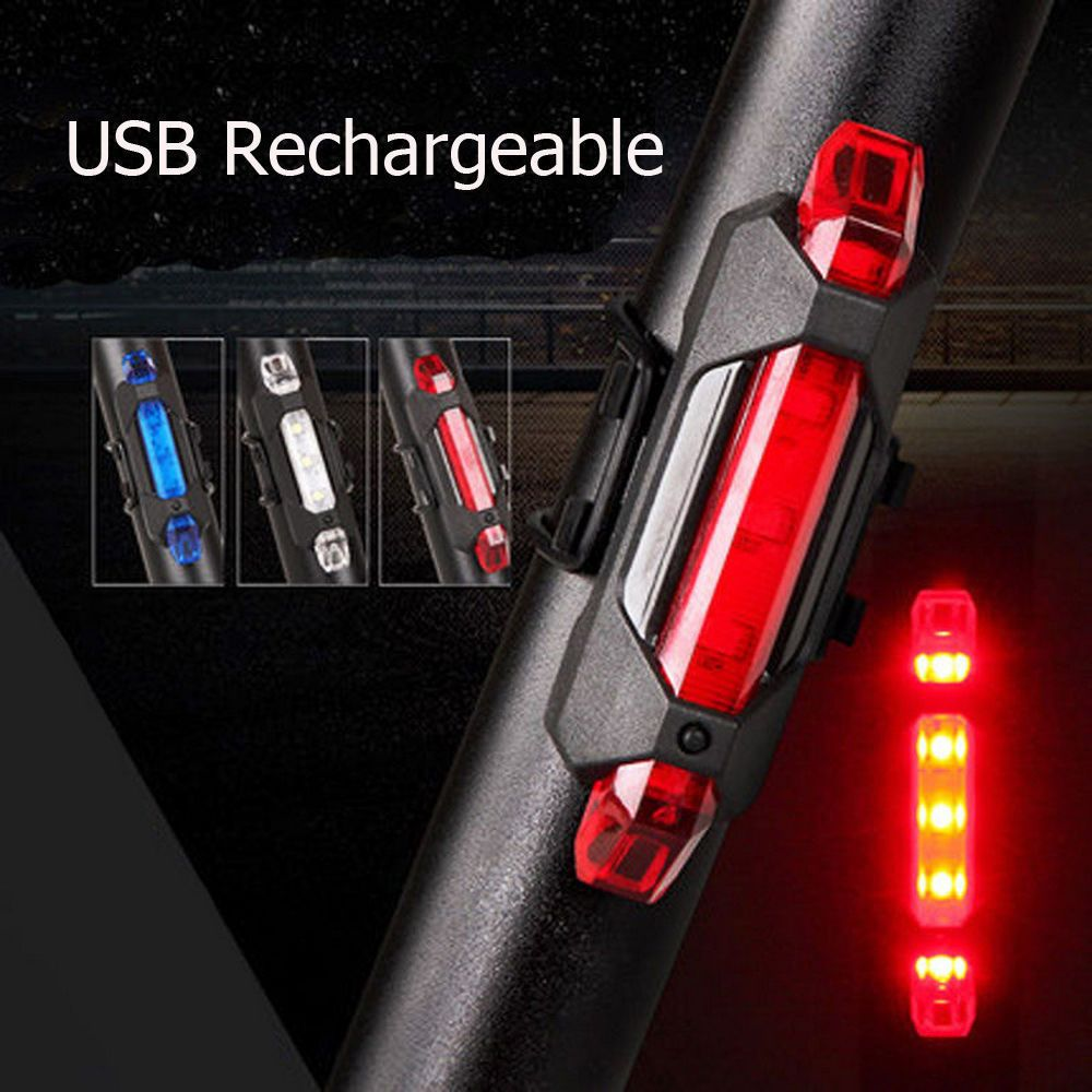 USB Rechargeable LED Bicycle Bike Cycling Rear Tail Light 6 Modes Lamp Warning