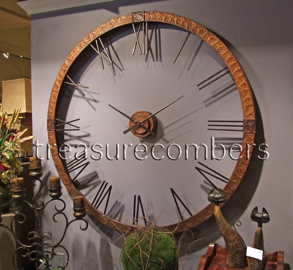 Xl 5 Foot Hammered Copper Wall Clock Oversized French Tuscan Old