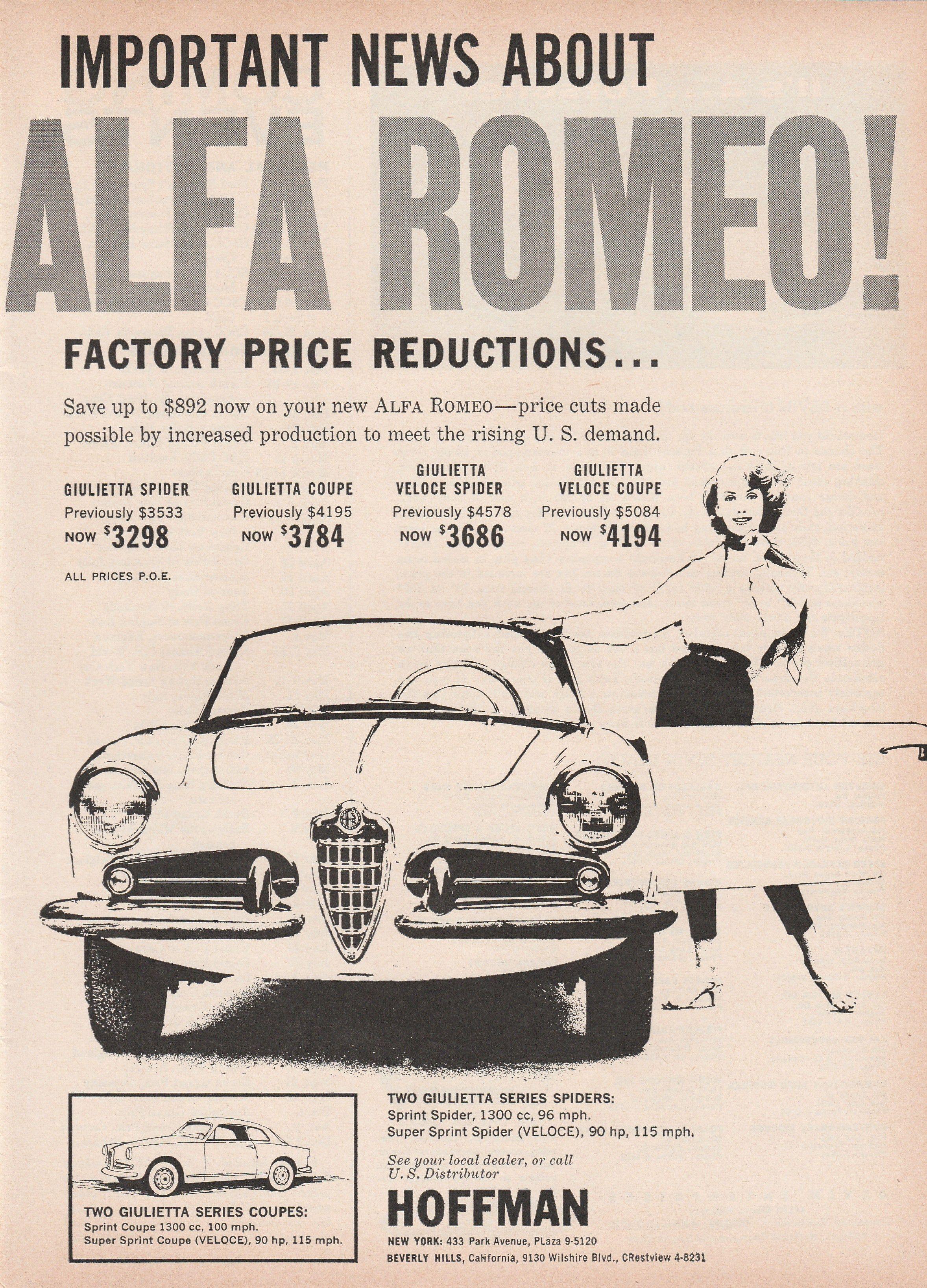 1958 alfa romeo ad - vintage black and white | voiture alfa