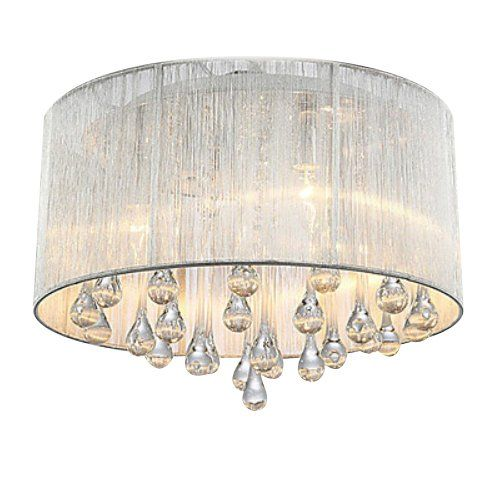 UNITARY BRAND Modern Fabric Shade Crystal Drops Flush Mount Light Max 160W With 4 Lights Chrome Finish