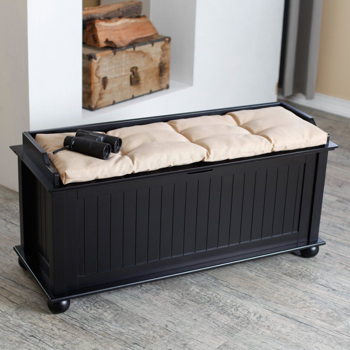 Morgan Traditional Flip Top Storage Bench Black Storage Chests