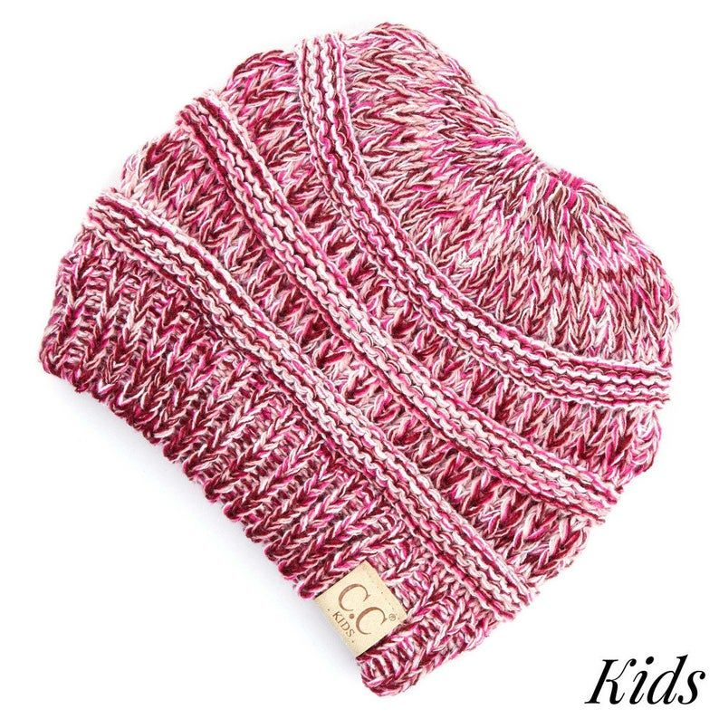 CC Kids Multi Color Messy Bun Beanie Hat The Original Knit Slouchy Beanie MB-816KIDS #kidsmessyhats