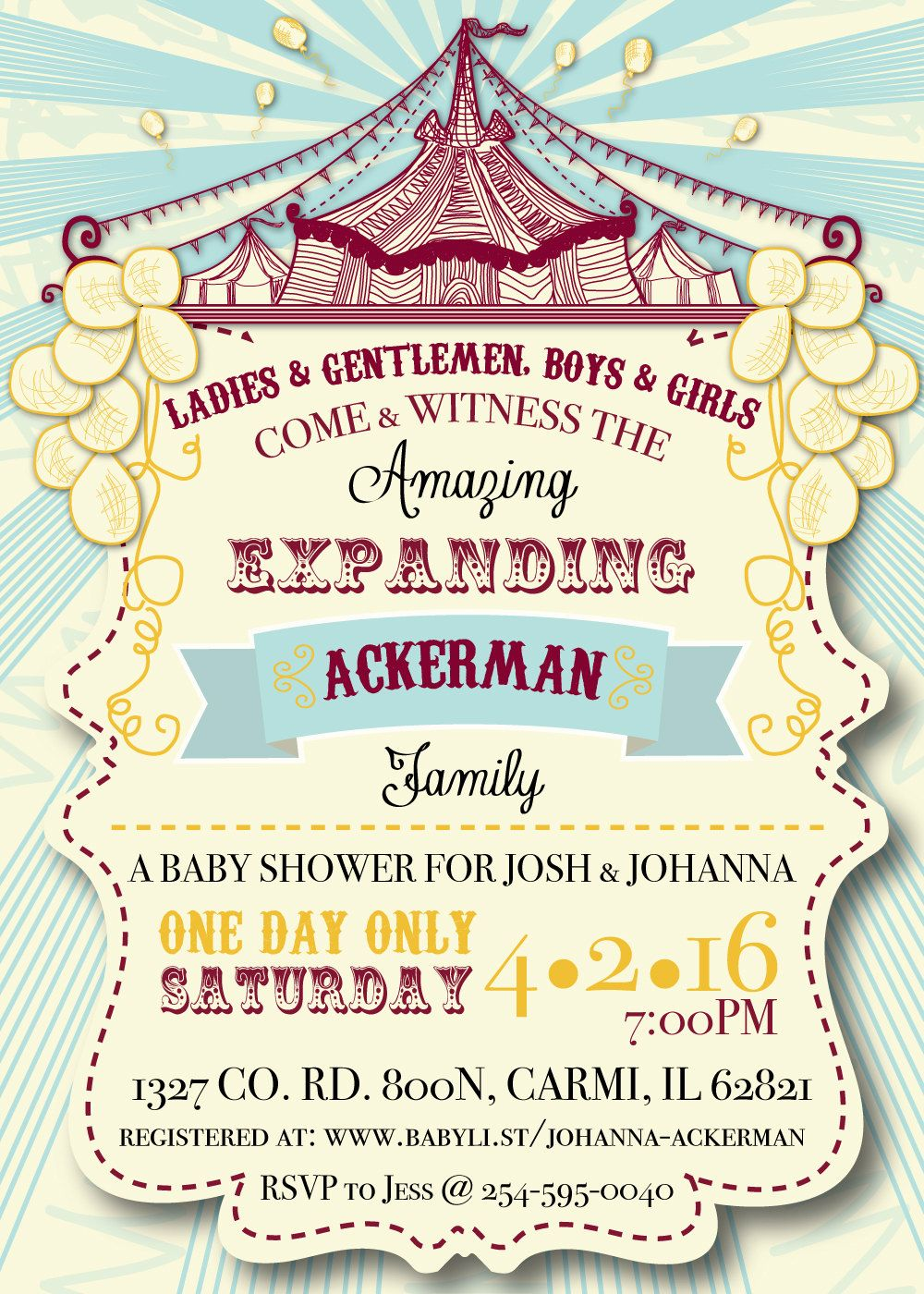 Circus Themed Baby Couple Shower Invitation & Party Package (DIGITAL ...