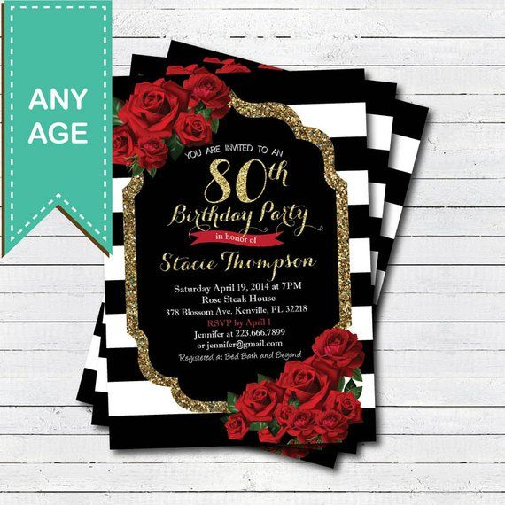80th Wedding Anniversary Gift: 80th Birthday Invitation For Lady. Red Rose Black And Gold