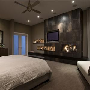 16 Ideas for Contemporary Bedrooms with Fireplace | Tv walls ...