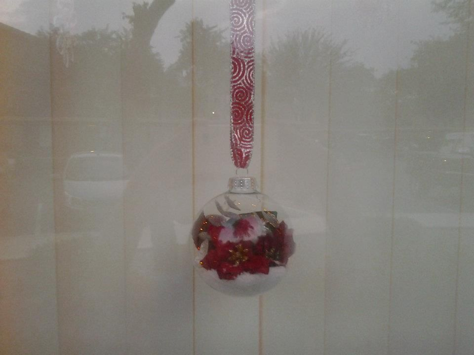I made 4 all with similar color and flowers but all different , hung by red ribbon with silver design.  Hung in window with snow flakes in between.