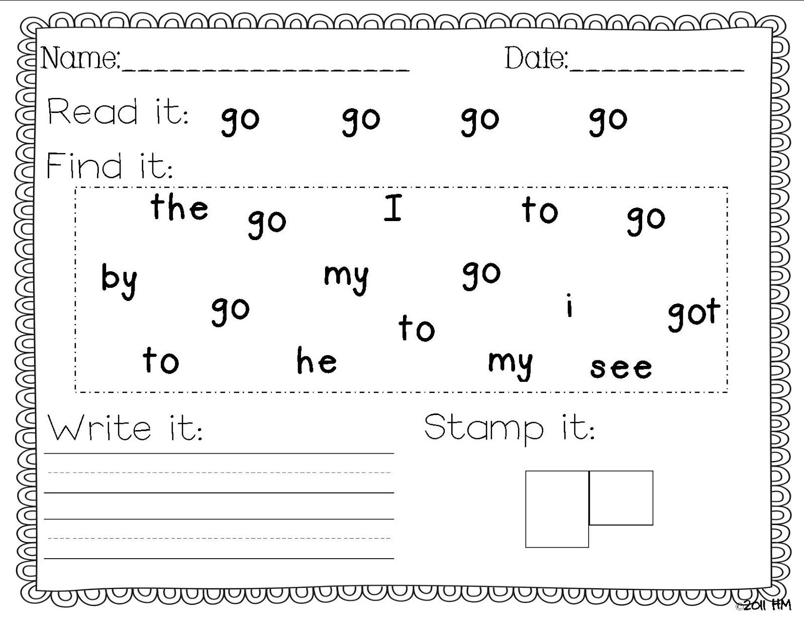 worksheet Free Printable Sight Word Worksheets free sight word practice pages look at kindergarten notebook description from pinterest