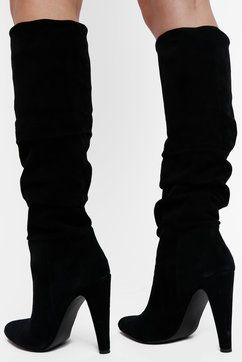 3f297665f449 Steve Madden Carrie Slouchy Boot With Heel in BLACK - back view